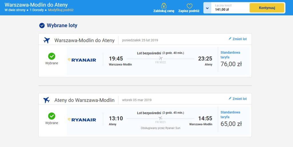 Warszawa Modlin - Ateny